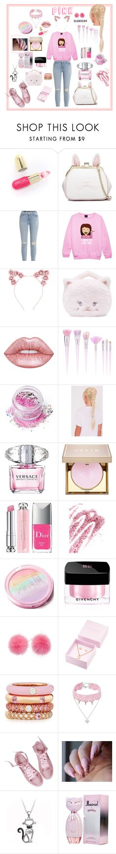 """Pink 💖"" by tinatin97 ❤ liked on Polyvore featuring Winky Lux, WithChic, J Brand, Hot Topic, Forever 21, Lime Crime, In Your Dreams, Versace, Stila and Christian Dior"