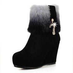 清仓特价2012新款女鞋正品女棉鞋真皮兔毛平底坡跟女靴意尔康短靴-淘宝网