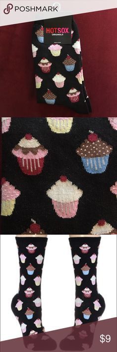 Hot Sox Cupcake Socks  Hot Sox Cupcake Socks  Fun, unique, novelty socks! Great conversation starter. Bring out your inner foodie! Great gift for the cupcake-lover in your life! Wear it to parties, especially cupcake parties! Wear it on the weekends, casual fridays, or even on Mondays (any day, really)!  Soft, durable, and machine-washable. They are women's but also unisex. Sock Size 9-11. Shoe Size 4-10.5. 52% cotton, 23% nylon, 22% polyester, 2% spandex, 1% rubber. Made in Korea. {NWT} Hot…