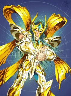 Gold Saint Aquarius Camus with Divine Cloth, Artwork by Spaceweaver. Saint Seiya: Soul of Gold