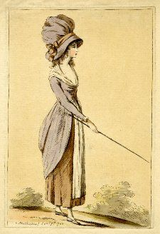 1782, A young woman standing in profile to right, holding out a staff in front of her, wearing a large bell-shaped bonnet with a ribbon tied in a bow and a gown with a bustled kirtle and a white fichu and apron. 1782  Hand-coloured etching