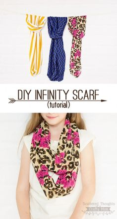 Make your own Infinity Scarf with this quick and easy tutorial!  (I need to stock up on some cute fabric to make more of these)