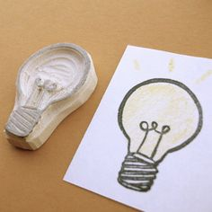 Bright Ideas Lightbulb Hand Carved Rubber Stamp by creatiate