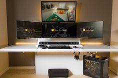 Ultimate black and gold gaming setup! Four displays, an amazing custom PC, a… Best Gaming Setup, Gaming Room Setup, Gaming Desk, Computer Setup, Gaming Rooms, Computer Desks, Setup Desk, Office Setup, Pc Setup
