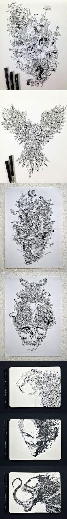 Les dessins et illustrations bourrées de détails de Kerby Rosanes (Philippines)…