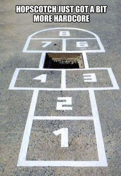"Advanced hopscotch… You don't want to land on ""5""."
