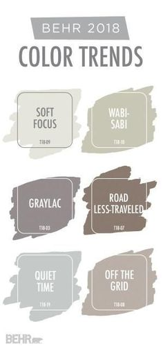 Create a warm and cozy space in your home with a little help from this neutral color palette. Based on BEHR 2018 Color Trends, this collection of paint colors is the perfect source of inspiration for your next DIY home improvement project. Click here to explore shades like Soft Focus, Road Less-Traveled, Off The Grid, and so much more. by marci #Homeimprovement