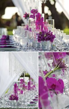 Half of the tables will feature submerged floral centerpieces with candles and crystal. I have stock of crystal votives and balls for placecards as well as glass charger plates and other stunning glass vase items: visit www.fb.com/labolaweddings