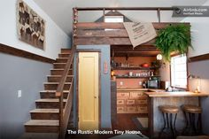 The Rustic Modern Tiny House in Portland-I like the kitchen and the steps on this one!