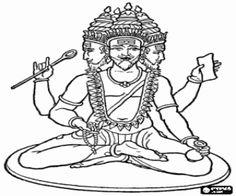 Colorear Brahmá, el dios creador hindú