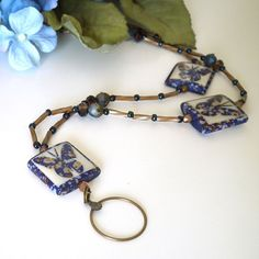 Your place to buy and sell all things handmade Jewelry Ideas, Jewelry Design, Beaded Lanyards, Stainless Steel Wire, Bugle Beads, Everyday Items, Id Badge, Brass Color, Blue Brown