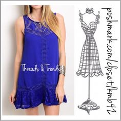 """Snorkel Blue A Line Dress 2016 top 10 color snorkel blue sleeveless dress. Featuring lace ruffle hem, embroidery and crochet lace yoke detail. Made of rayon and fully lined. Key hole closure on back and side zipper closure. Perfect with leggings or a dress extender. Size S, M, L.  A line                                                            Small bust 34"""" Medium bust 36"""" Large bust 38""""  Length 33"""". Threads & Trends Dresses"""