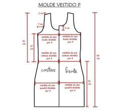 molde para vestidos tubinho tamanho P