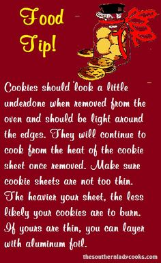 cookie tips Heres a handy food tip for baking cookies! I am sure there will be tips posted that you already know but we can always learn something new. Baking Secrets, Baking Tips, Bread Baking, Baking Biscuits, Vegan Baking, Baking Ideas, No Bake Cookies, Cookies Et Biscuits, Baking Cookies