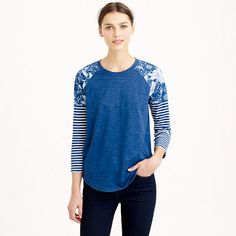 """Our very own Blue Period—we added stripes <i>and</i> florals to this super soft baseball tee, then dunked the whole thing in real indigo dye. As a result of the authentic dye process, the color will fade slightly over time for a look that's totally unique to the wearer. <ul><li>Slightly loose fit.</li><li>Body length: 26 1/2"""".</li><li>Cotton/poly.</li><li>Machine wash.</li><li>Import.</li></ul>"""