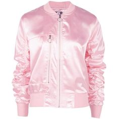 Boohoo Boutique Jessica Crop Satin Bomber (185 MYR) ❤ liked on Polyvore featuring outerwear, jackets, cropped jacket, pink cropped jacket, bomber style jacket, pink satin jacket and bomber jacket