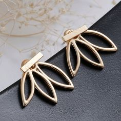 Hollow Leaf Flower Stud Earrings