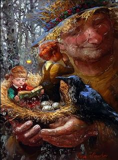 Victor Nizovtsev-sitting in my nest reading with my brother, 3 eggs a blackbird…