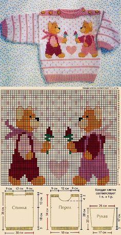 Knitting For Children - Orgu Child Knitting - Diy Crafts - Marecipe Baby Sweater Knitting Pattern, Knit Baby Sweaters, Knitting Charts, Baby Knitting Patterns, Knitting Designs, Baby Patterns, Stitch Patterns, Diy Crafts Knitting, Diy Crafts Crochet