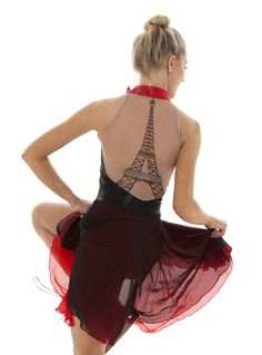 "Paris Themed Skate Dress ""Eiffel"" Back Synchronized Skating Dress"