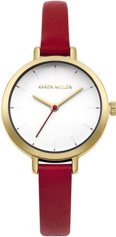 Skinny Leather Strap Watch - Red