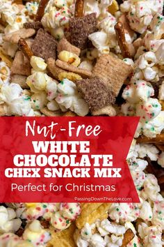 Nut-free Christmas Snack Mix - This White Chocolate Chex snack mix is nut-free, salty, sweet and delicious! Your guests will love - Fall Trail Mix Recipe, Trail Mix Recipes, Snack Mix Recipes, Good Healthy Recipes, Dessert Recipes, White Chocolate Chex Mix, Chocolate Almond Bark, White Chocolate Recipes, Chocolate Ganache