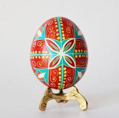 Red Pysanka egg for Christmas basket perfect gift for mother