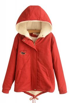 Cat Embroidery Long Sleeve Hooded Winter Coat