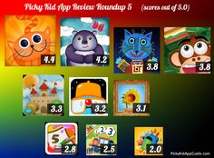 Our latest collection of kids apps, and how we rate them :)