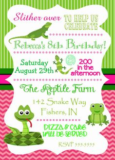 Dotted Snake Birthday Party Invitations with Googly Eyes 110 via