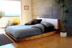 Minimalist Bedroom with Concrete Wall