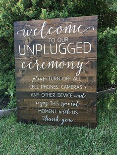 Unplugged Wedding Sign, Unplugged Ceremony Sign, Rustic Wood Wedding Sign - Sophia Collection This classy wooden welcome sign will make a beautiful personalized touch to your wedding or event. This listing comes wi. Wedding Ceremony Ideas, Ceremony Signs, Wedding Tips, Wedding Events, Wedding Planning, Wedding Day, Dream Wedding, Diy Wedding, Wedding Sign In Ideas