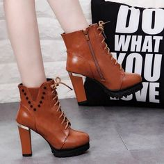 Womens Rivet Metal Decor Lace Up Chunky High Heel Platform Ankle Boots
