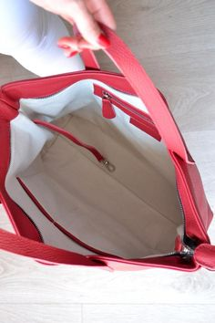 b58d6eb8e673 Leather laptop bag Leather bag RED LEATHER TOTE Tote Bag