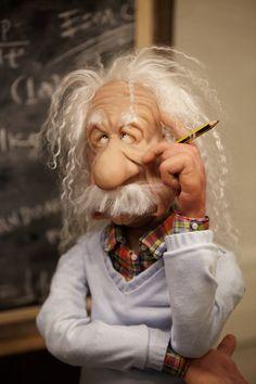 *POLYMER CLAY ~ OOAK Polymer clay Art Doll -  Einstein (inc. Display Case). $1,280.00, via Etsy.