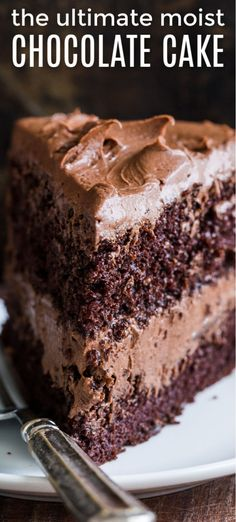 Moist Chocolate Cake Recipe with a Whipped Chocolate Frosting. Ridiculously easy and makes a stunning birthday cake!Ultimate Moist Chocolate Cake Recipe with a Whipped Chocolate Frosting. Ridiculously easy and makes a stunning birthday cake! Dessert Party, Dessert Cake Recipes, Best Cake Recipes, Easy Cookie Recipes, Easy Homemade Cake Recipes, Homemade Cheesecake, Delicious Cake Recipes, Cheesecake Recipes, Chocolate Cake Recipe Videos