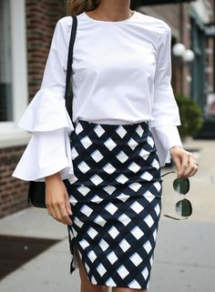 Gingham pencil skirt, white bell sleeve blouse, navy crossbody bag + nude ankle strap sandals {Ann Taylor, Chelsea 28, Sam Edelman, affordable workwear, office style, classic style}