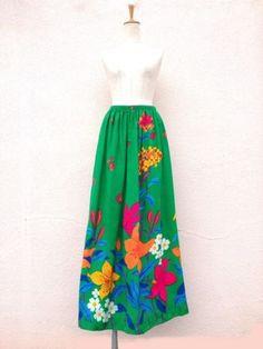 vintage カラフルお花 ロングスカート グリーン