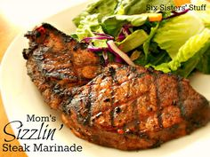 Mom's Sizzlin' Steak Marinade- made with easy, common ingredients . . . and it tastes incredible! SixSistersStuff.com #recipe #grill