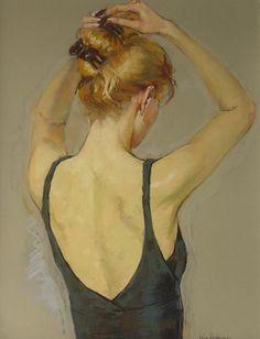 Preparing her hair by Katya Gridneva (Ukranian, b. 1965)