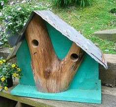 Green with Envy: Two Bedroom Oak Front Birdhouse. Barn wood & vintage tin $145