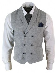 707ce1c5053 Vintage Double Breasted Waistcoat Tweed Light grey  MensFashionSmart Mens  Suits