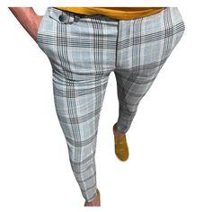 Plaid Skinny Hip Hop Pants NA01 – iawear Slim Fit Dress Pants, Stretch Dress Pants, Slim Fit Trousers, Slim Joggers, Skinny Chinos, Skinny Suits, Plaid Pants, Long Pants, Street Wear