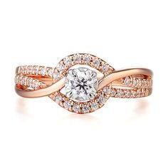 Diamond Engagement Ring in Rose & White Gold - 2308960 - Helzberg Diamonds Unique Diamond Rings, Diamond Wedding Rings, Diamond Engagement Rings, Diamond Jewelry, Jewelry Rings, Bridal Rings, Women's Rings, Diamond Studs, Jewelry Shop