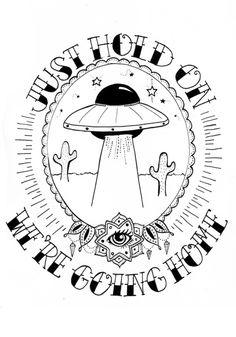 Digital Drake/UFO Print on A5 300GSM Rough Card Paper by midgepop (etsy: planetmidgepop) || £4