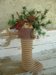 Handcrafted Primitive Christmas Ticking Stocking with greens and Snowman