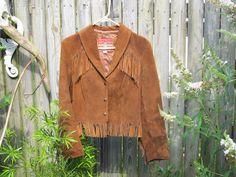 Vintage Ms Pioneer Leather Suede Fringe Jacket  by VintageTrixie, $70.00