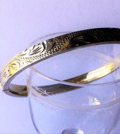 Late Edwardian gold plated silver sterling engraved bracelet, edwardian jewels, antique bracelet di Quieora su Etsy