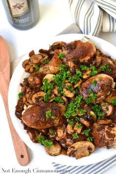 Chicken Drumsticks with a Mushroom Balsamic Sauce I NotEnoughCinnamon.com