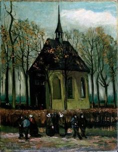 Vincent van Gogh's Congregation Leaving the Reformed Church in Nuenen is an oil on canvas (16-1/4x12-1/2 inches) housed in the Van Gogh Museum in Amsterdam.